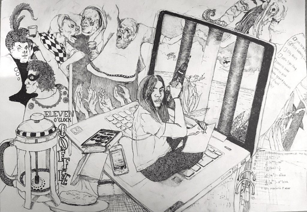 """""""Lockdown self-portrait"""" by Amber van den Berg (L6)"""