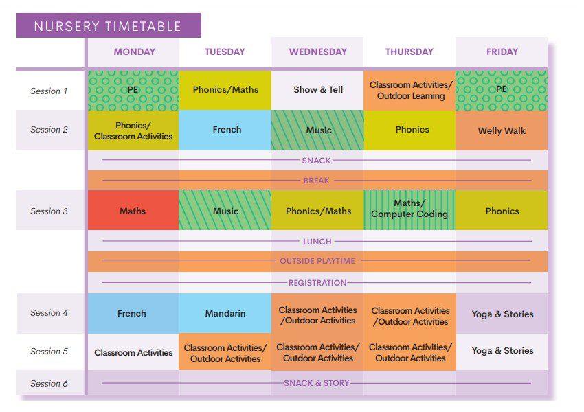 Nursery timetable